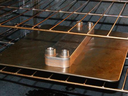 Baking a plate chiller