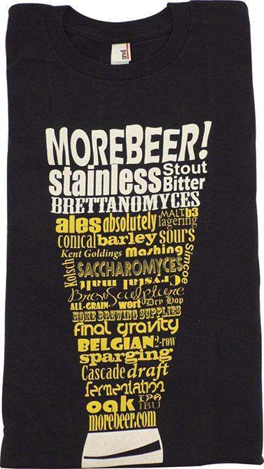 T-Shirt - Black MoreBeer! Beer Terminology Glass - XL