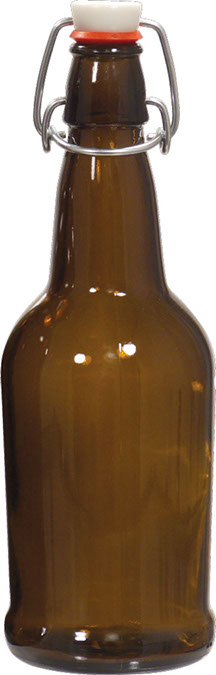 EZ Cap Bottles - 16 oz Amber Swing Top (Qty 12)