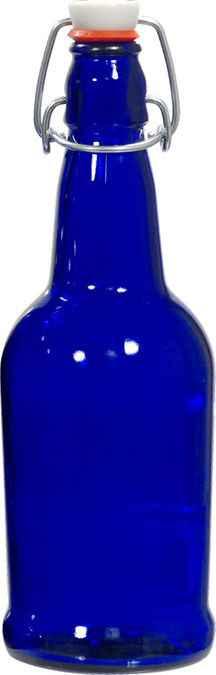EZ Cap Bottles - 16 oz Cobalt Blue Swing Top (Qty 12)