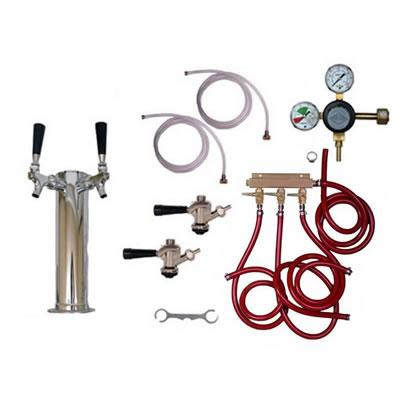 Draft Beer Tower Commercial Keg Kit - 2 Faucets - Taprite Regulator