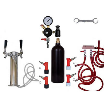 2 Faucet Draft Beer Tower Keg Kit with 20oz CO2 Tank and Pin Lock Fittings