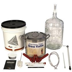 Gold Beer Equipment Kit with 6 Gallon Glass Carboy & Brew Pot