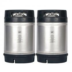New 3 Gallon AMCYL Ball Lock Keg w/ Dual Rubber Handles - Two Pack
