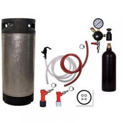 Draft Beer Homebrew Keg Kit with 20oz CO2 Tank - Used Pin Lock Keg