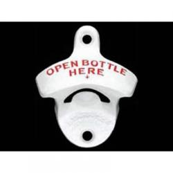 White Open Bottle Here Wall Mount Bottle Opener