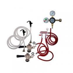 Draft Beer Party Keg Kit - 2 Faucet - Dual Gauge Taprite Regulator