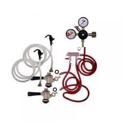 Draft Beer Party Keg Kit - 2 Faucet - Dual Gauge Regulator