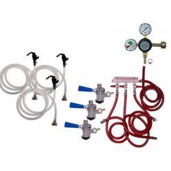 Draft Beer Party Keg Kit - 3 Faucet - Dual Gauge Taprite Regulator