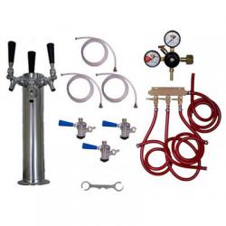 Draft Beer Tower Commercial Keg Kit - 3 Faucets