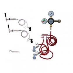 Draft Beer Refrigerator Keg Kit - Taprite Regulator - Double Tap - BALL LOCK