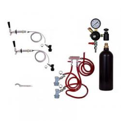 Draft Beer Refrigerator Keg Kit with 20oz CO2 Tank - Double Tap - BALL LOCK