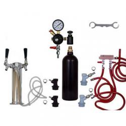 2 Faucet Draft Beer Tower Keg Kit with 20oz CO2 Tank and Ball Lock Fittings