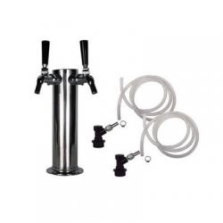 Draft Beer Tower - 2 Perlick 525SS Faucets - Ball Lock Keg