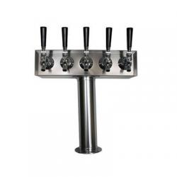 Draft Beer Tower - 5 Faucets - Stainless Steel